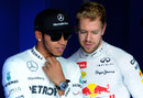 Lewis Hamilton and Sebastian Vettel chat after qualifying