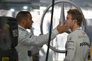 Lewis Hamilton and Nico Rosberg in animated discussion