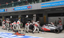 Jenson Button pits for a final time