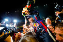 Sebastian Vettel at the centre of Red Bull celebrations