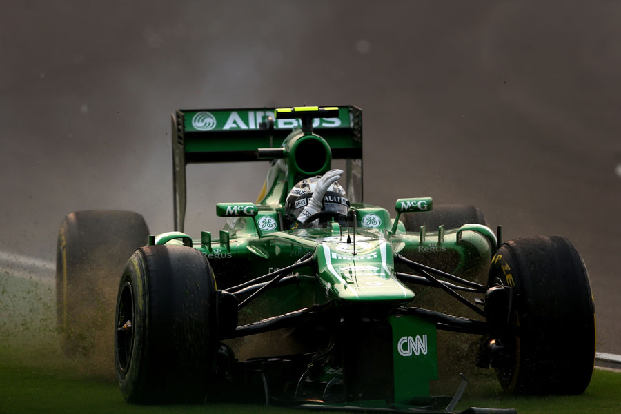 Giedo van der Garde gestures angrily as he crashes out of the race