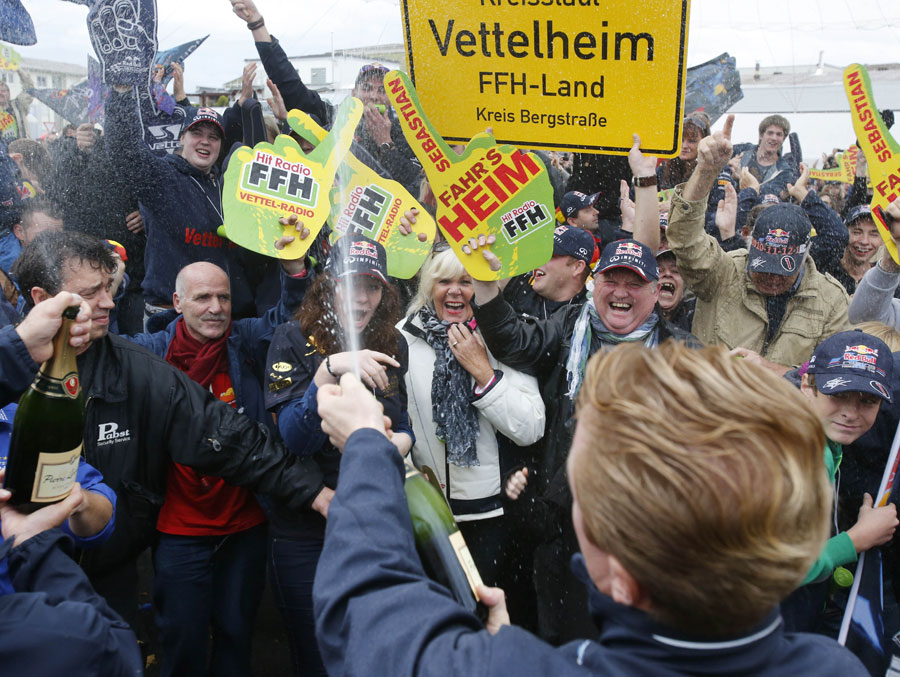 Celebrations break out in Sebastian Vettel's home town of Heppenheim after he secured his fourth title