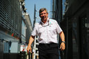 Ross Brawn leaves the Mercedes trucks in the paddock