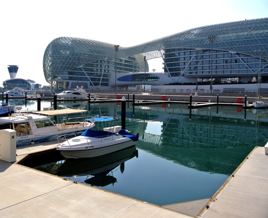 A view of the Yas Marina Hotel