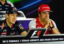 Sebastian Vettel enjoys the driver press conference alongside Fernando Alonso