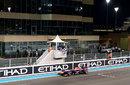 Sebastian Vettel celebrates as he crosses the line