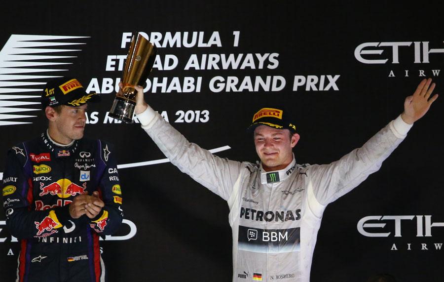 Nico Rosberg celebrates his third place on the podium