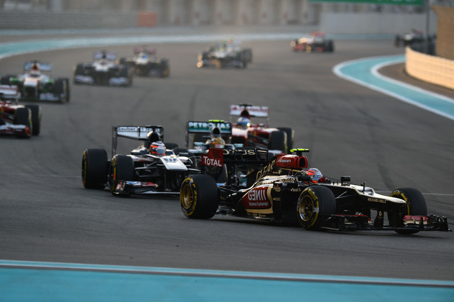 Romain Grosjean ahead of Nico Hulkenberg on the opening lap