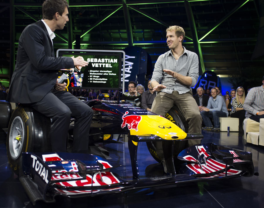 Sebastian Vettel appears on the Sport & Talk show in Hangar-7