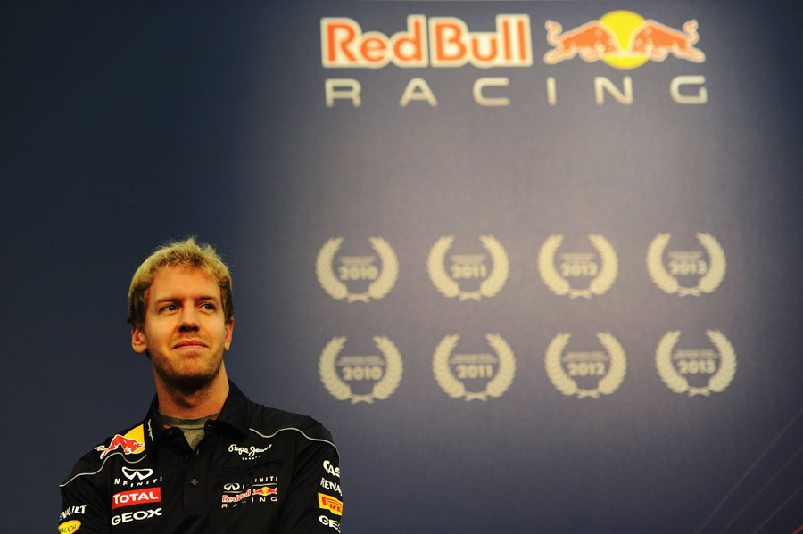 Sebastian Vettel in reflective mood during a press event for Red Bull