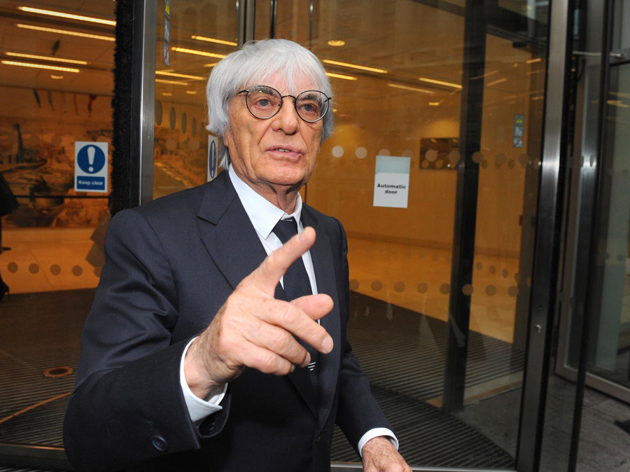 Bernie Ecclestone arrives at the High Court on Wednesday