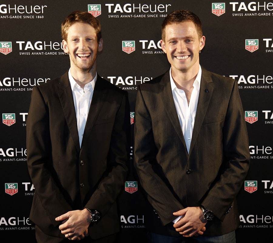 Romain Grosjean alongside Sebastien Ogier at an event for Tag Heuer