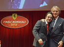 Felipe Massa is hugged by Ferrari president Luca di Montezemolo during his leaving party