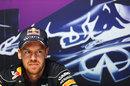 Sebastian Vettel takes part in his Thursday press conference