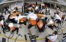 Force India carries out a pit stop drill on Thursday evening