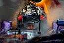 Sebastian Vettel in the cockpit of his Red Bull