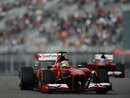 Felipe Massa leads Fernando Alonso on track