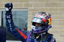 Sebastian Vettel celebrates pole in parc ferme