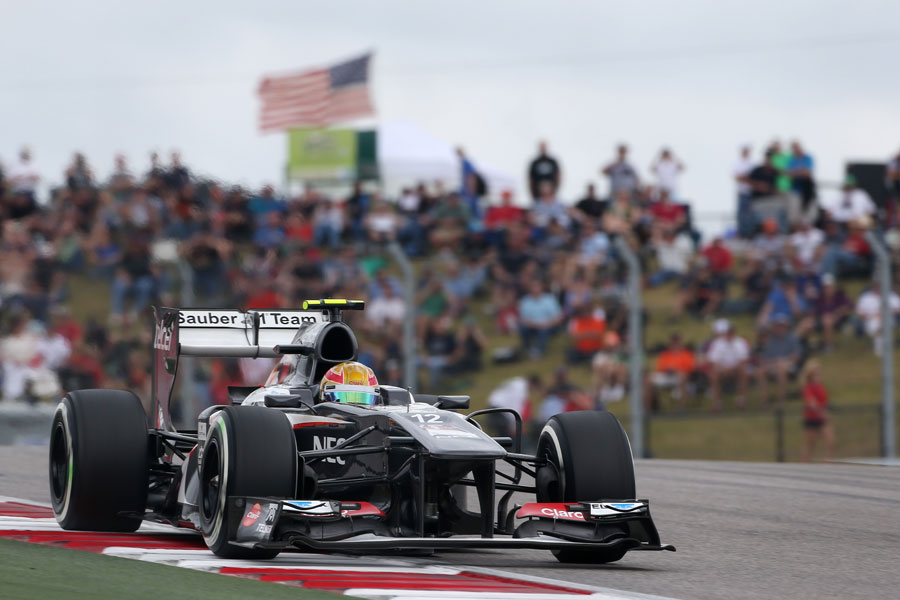 Esteban Gutierrez gets the power down on medium tyres