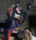 Sebastian Vettel celebrates his victory