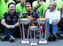 Sebastian Vettel celebrates victory with a fake moustache, much to Helmut Marko's delight