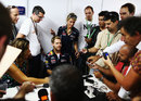 Sebastian Vettel faces the press on Thursday afternoon