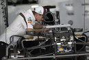 Nico Hulkenberg peers in to his Sauber