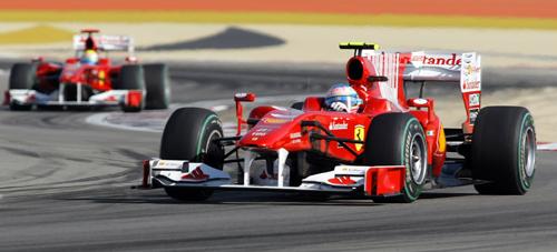 Fernando Alonso takes a corner