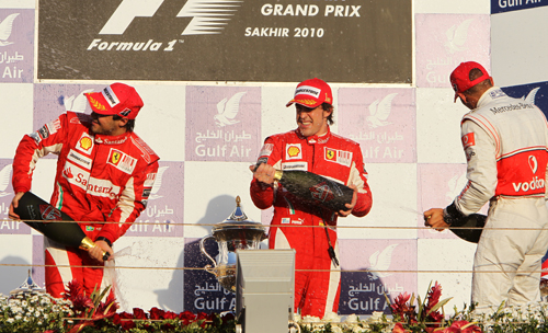 The traditional podium scene, albeit not with champagne