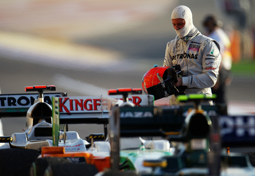 Michael Schumacher in parc ferme at the race's finish