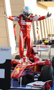 A delighted Fernando Alonso climbs from his car