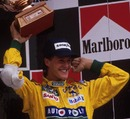 Michael Schumacher celebrates his first podim finish