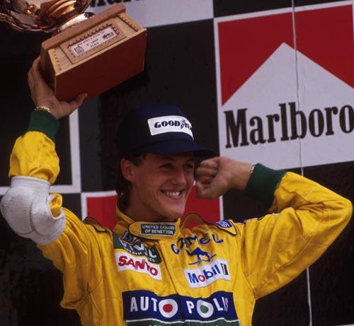 Michael Schumacher celebrates his first podim finish