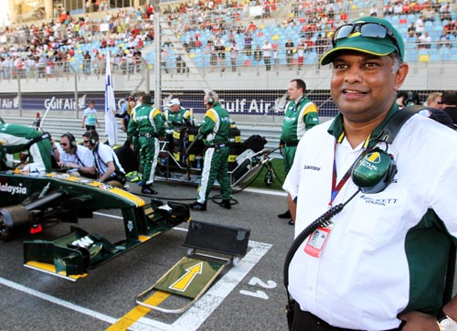 A happy Tony Fernandes on the Bahrain grid