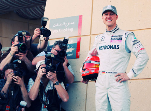 Michael Schumacher takes centre stage
