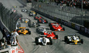 Nelson Piquet  leads Rene Arnoux and Patrick Depailler into the first bend
