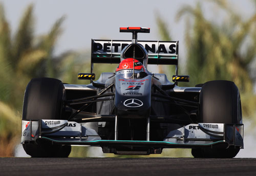 Michael Schumacher on track in the Mercedes