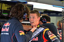 Daniil Kvyat in animated discussion with his engineer