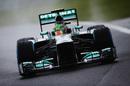 Lewis Hamilton prepares to corner