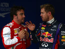 Fernando Alonso and Sebastian Vettel chat after qualifying