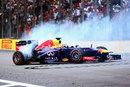 Sebastian Vettel celebrates a ninth consecutive victory