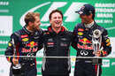 Sebastian Vettel, Christian Horner and Mark Webber celebrate an all-conquering season