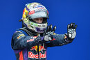 Sebastian Vettel celebrates his ninth consecutive victory