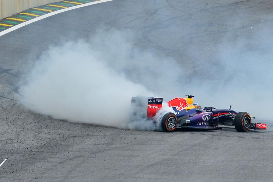 Sebastian Vettel celebrates in Brazil