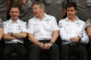 Ross Brawn between Paddy Lowe and Toto Wolff during the Mercedes end-of-season team photo