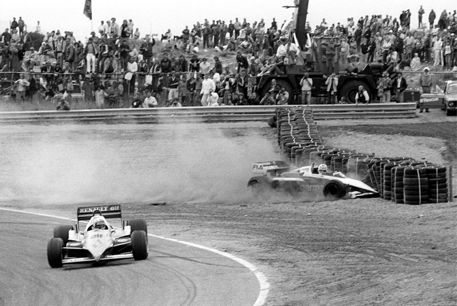 Alain Prost takes Nelson Piquet out of the race