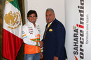 Vijay Mallya and Sergio Perez as Perez is announced as a Force India driver for 2014
