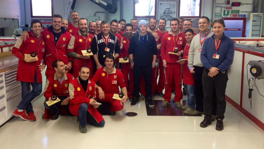 Kimi Raikkonen visits the Ferrari team in Maranello