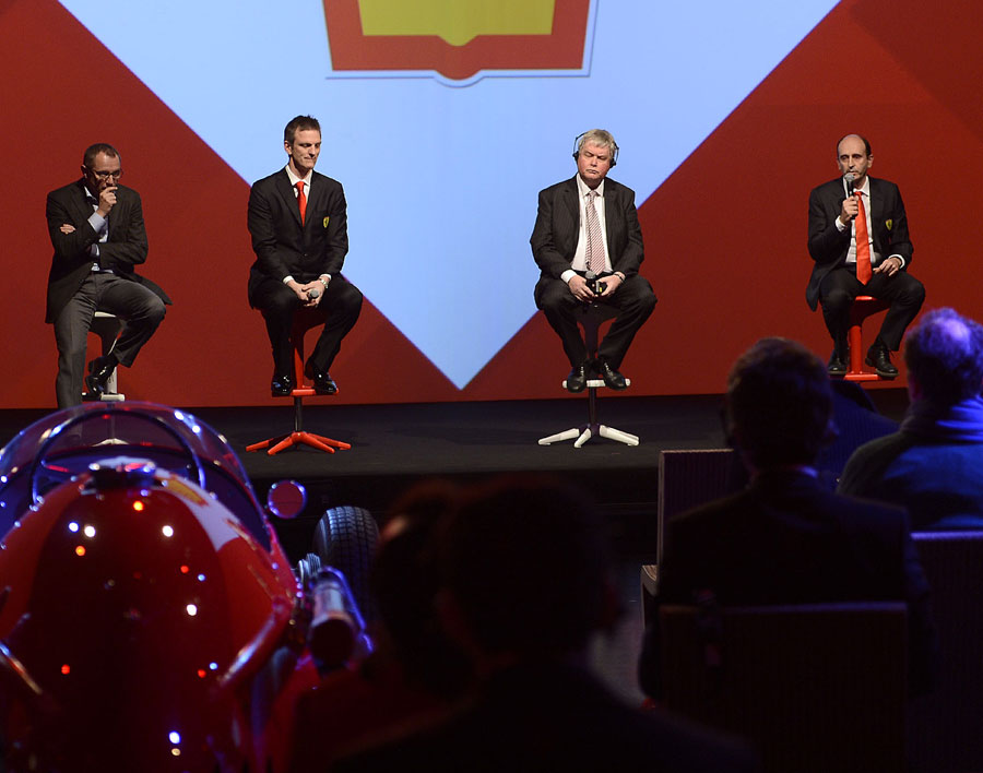 Ferrari team principal Stefano Domenicali, technical director James Allison, Shell's Andrew Foulds and engine boss Luca Marmorini speak at the launch of the Ferrari 059/3 engine