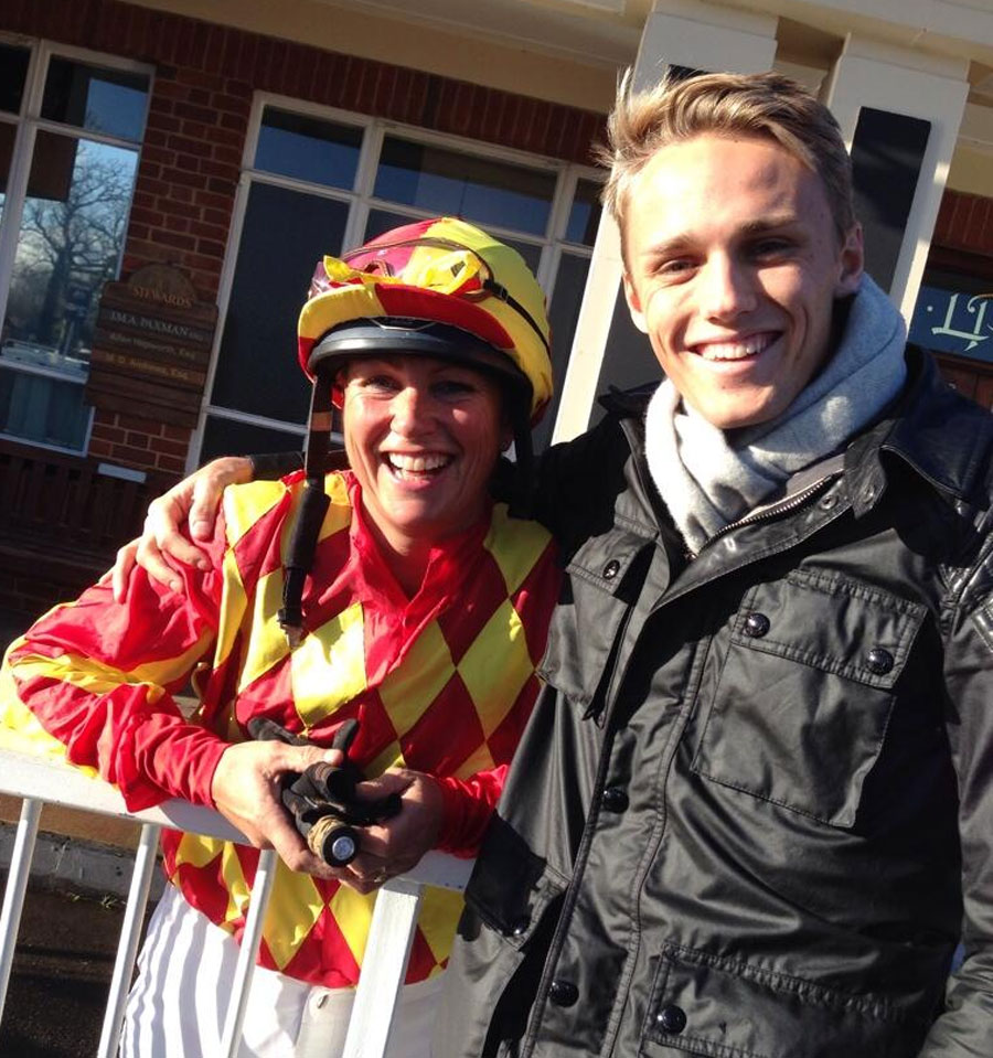 Max Chilton takes time out to watch a friend's mother in a charity race at Lingfield